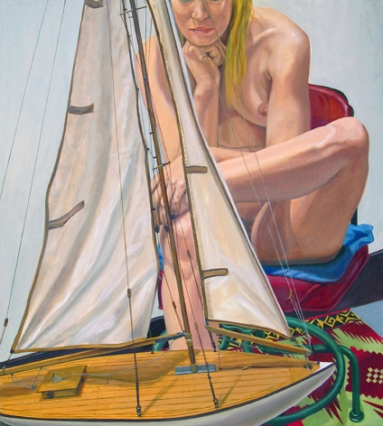 Model with Pond Boat, 2014, Oil on Canvas