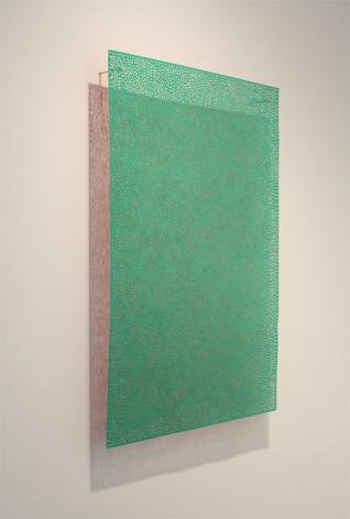 cadmium green wall sculpture