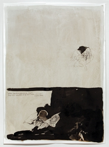 When the News Filtered to the Angels They Were Overwhelmed by Their Sudden Aloneness (Angels Putti), 2007, Ink Wash and Gesso on Paper