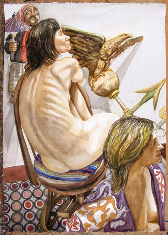 Two Models, Eagle Weathervane and Marionette, 2008, Watercolor on Paper