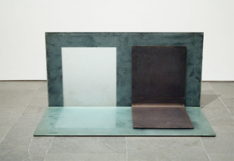 NORMAL CORNER (YARD), 1972, Etched glass and steel
