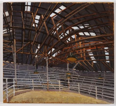 BULL BARN INTERIOR, MARFA, TX, 2007, Oil on canvas