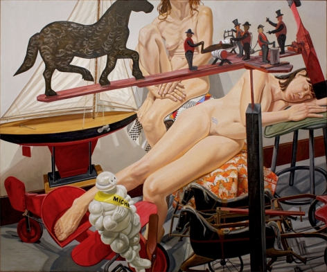 Two Models with Kiddie Car Airplane, Chariot, Whirlygig and Michelin Man, 2011, Oil on canvas