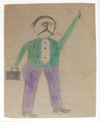 "Mexican Man (""He Just Come to Town""), c. 1939-1942, Pencil and Crayon on Cardboard"