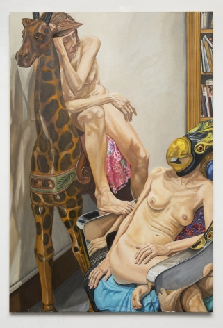 Two Models with Giraffe and Bird Masks, Chrome Chair and Bookshelves, 2016, Oil on canvas