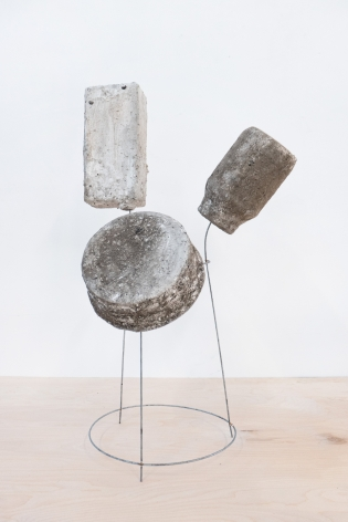 Erin Woodbrey  Mixed Nuts, Mayonnaise, and Bone Broth (From the Carrier Bag Series), 2020  Single-use plastic containers, ash, plaster, gauze, and steel wire  60.96 x 36.20 x 26.67 cm / 24 x 14 1/4 x 10 1/2 in