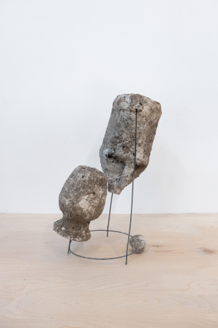 Erin Woodbrey  Ode (From the Carrier Bag Series), 2020  Single-use plastic and glass containers, ash, plaster, gauze, and steel wire  48.26 x 38.10 x 19.68 cm / 19 x 15 x 7 3/4 in