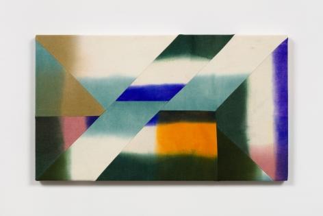 Wilder Alison (b. 1986)  vio/etrimmed a /hermit /sun— a good f/iend—, 2021  Dyed wool and thread  53 x 93 cm / 21 x 36 1/2 in