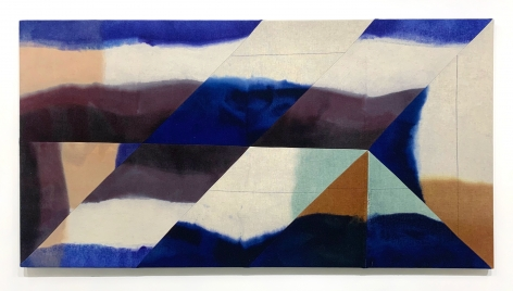 Wilder Alison  assess a \caged/ rot —yie/ding tannin pool, 2020  Died wool and thread  70 x 136 cm / 27 1/2 x 53 1/2 in