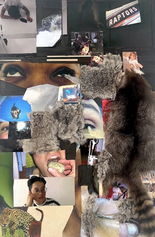 """Dani (Leventhal) ReStack  Into Vapor When Heated, 2021  Photographs, video screenshots from """"Future From Inside"""" by Dani + Sheilah ReStack, raccoon hide, opossum hide, fake fur, acrylic, and colored pencil on panel  101.6 x 76.2 cm / 40 x 30 in"""