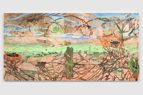 Esteban Cabeza de Baca  La Llamada de la familia, 2021  Acrylic on canvas  152.4 x 304.8 cm / 60 x 120 in
