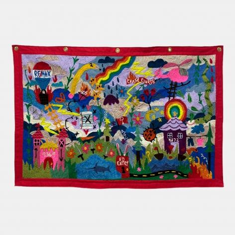 Kaylie Kaitschuck  Path 1, 2021  Yarn on felt  81 x 132 cm / 32 x 52 in