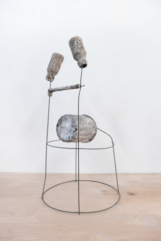 Erin Woodbrey  The Thinker (From The Carrier Bag Series), 2020  Single-use plastic containers, cork, ash, plaster, gauze, and steel wire  77.47 x 41.91 x 38.73 cm / 30 1/2 x 16 1/2 x 15 1/4 in