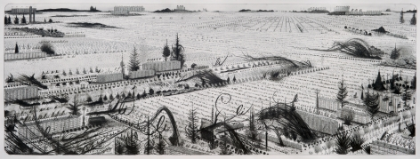 Hipkiss  Lark Law, 2020  Graphite, silver ink and colored pencil on 220 g/m2 Fabriano 4 paper  33 x 87 cm / 13 x 34 1/4 in