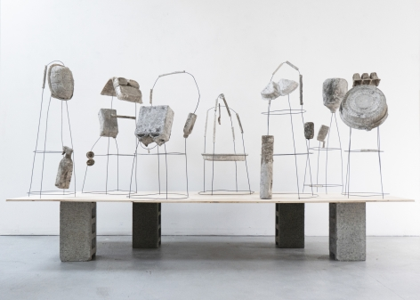 Erin Woodbrey  The Carrier Bag Series, 2020-2021  Single-use plastic, metal, and paper containers, foam, ash, plaster, and gauze  Variable Dimensions