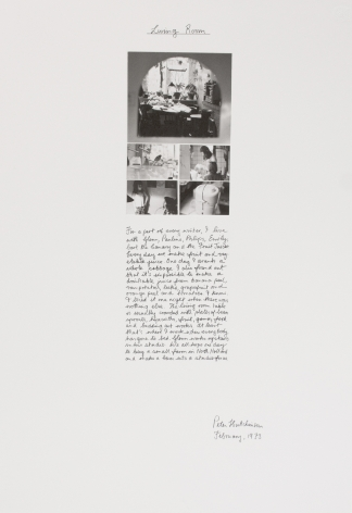 Peter Hutchinson  Living Room, 1973  Photo-collage, ink, text on cardboard  71.1 x 49.5 cm / 28 x 19 1/2 in  Framed: 74.9 x 52.8 cm / 29 1/2 x 20 4/5 in