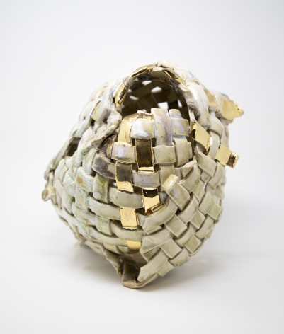 Anina Major  Cowrie, 2020  Stoneware, gold luster and sand  30.5 x 30.5 x 30.5 cm / 12 x 12 x 12 in