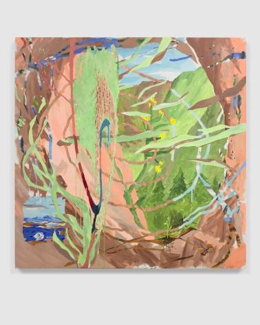 "Esteban Cabeza de Baca  ""Espirales del futuro poscolonial"", 2021  Acrylic on canvas  152.4 x 152.4 cm / 60 x 60 in"