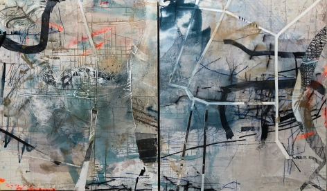 Audrey Tulimiero Welch  Beauty and Terror 2, 2020  acrylic, plaster, graphite, ink on canvas