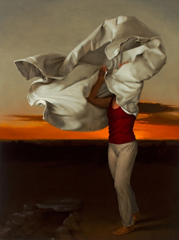 Untitled (cloth obscured woman with orange sunset)