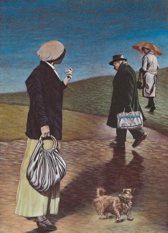 Eric Stotik (b. 1963)  LR366 Untitled (three figures with dog), 2020