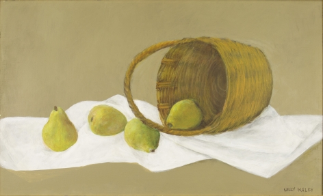 Haley - Four green pears on white cloth