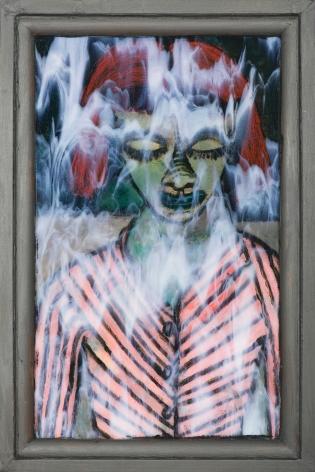 Gregory Grenon (b. 1948)  Eyes Averted, 2020  oil on Bullseye glass