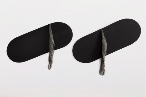 Ko Kirk Yamahira (Born: 1976, Los Angeles, CA)  Untitled RL039 (Two black slanting ovals), 2021