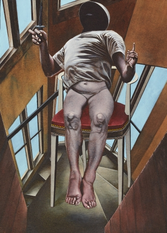 Eric Stotik (b. 1963)  Untitled LR361 (seated figure with knife), 2020