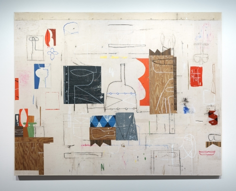 Studio Wall, 2021  acrylic and collage on canvas