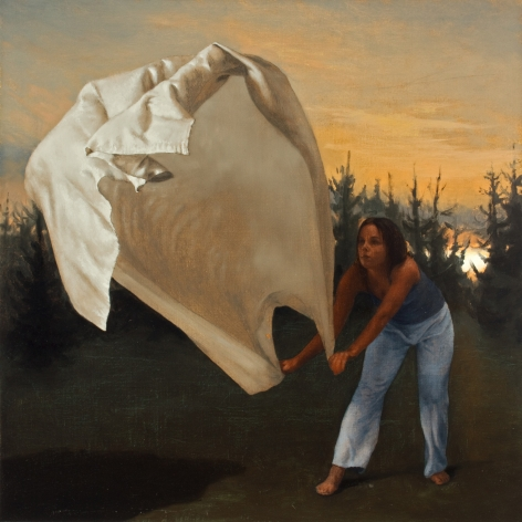 Untitled (woman in lavender pants, waving cloth, sunset, trees)