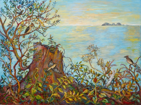 Kim Osgood (b. 1955)  Cedar Waxwings and the Horizon Line, 2021
