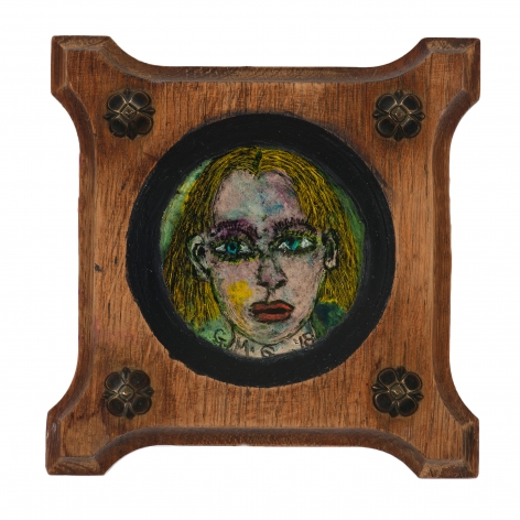 Gregory Grenon (b. 1948)  About the Secrets, 2018  oil on glass circle