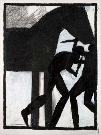 Michael Spafford (b. 1935)  Trojan Horse Series #2 - One Greek One Trojan, 2020  India ink and charcoal on paper
