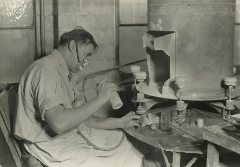 Lewis Hine - Glass paint Sprayer, T.C. Wheaton Co. - Millville, New Jersey, January 1937