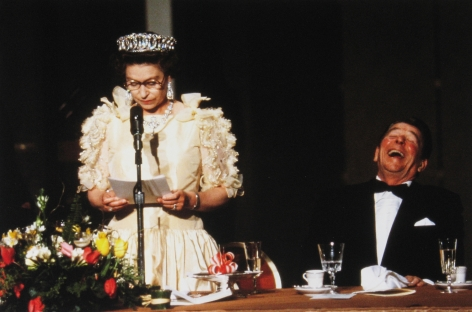Diana Walker - President Reagan laughing at humorous remarks made by H.M. Queen Elizabeth II, M.H. de Young Memorial Museum, San Francisco, March 3, 1983 - Howard Greenberg Gallery - 2018
