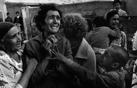 Don McCullin, Mourning woman, Cyprus (this woman's husband was killed in a gun battle in Gazabaran), 1964, Howard Greenberg Gallery, 2019
