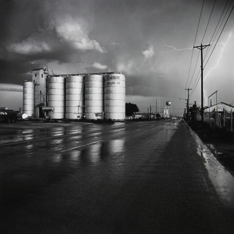 Frank Gohlke - Grain Elevator and Lightning Flash, Lamesa, Texas, 1975 - Howard Greenberg Gallery
