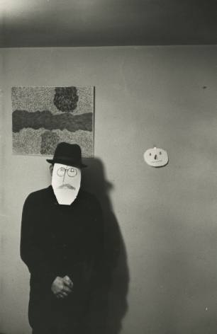 "Inge Morath - ""Mask Portrait"" from Series with Saul Steinberg, 1959 - Howard Greenberg Gallery"