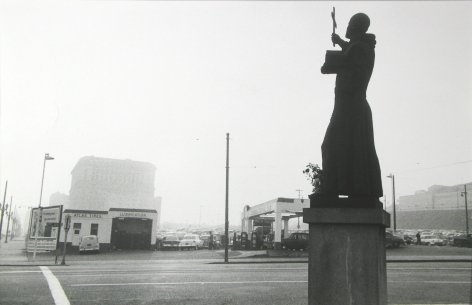 Robert Frank, St. Francis, Gas Station and City Hall, Los Angeles, 1955-56, Howard Greenberg Gallery, 2019
