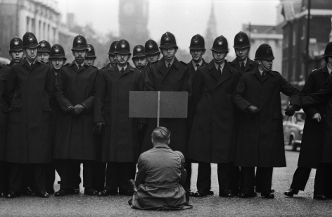 Don McCullin, Protester, Cuban Missile Crisis, Whitehall, London, 1962, Howard Greenberg Gallery, 2019