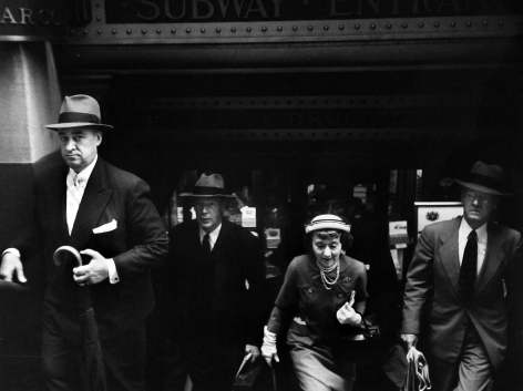 Robert Frank - Former actress Edna Wallace Hopper, now in her mid-80s, exiting Wall Street subway en route to her office, NYC, 1953 - Howard Greenberg Gallery