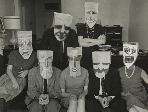 "Inge Morath - ""Mask Portrait"" from Series with Saul Steinberg, 1962 - Howard Greenberg Gallery"
