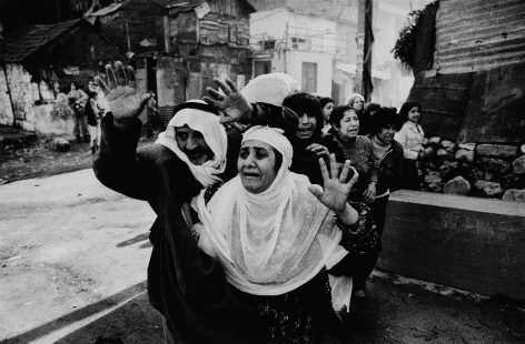 Don McCullin, Old Palestinian and his wife begging for mercy from the Christian gunmen, Beirut, 1976, Howard Greenberg Gallery, 2019