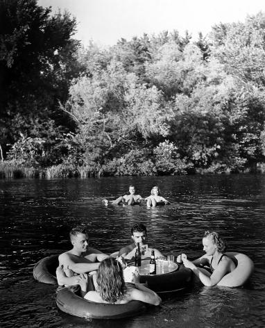 Alfred Eisenstaedt - Bridge playing couples at innertube party, Apple River, Somerset, WI, 1941 - Howard Greenberg Gallery