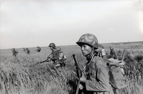 Don McCullin, War in the Paddy Fields, Mekong Delta, Vietnam, 1964, Howard Greenberg Gallery, 2019