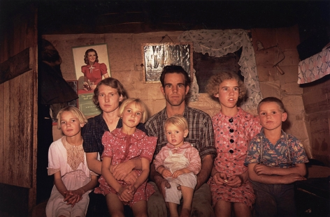 Russell Lee - Jack Whinery, homesteader, with family, Pie Town, New Mexico Fair Oct., 1940 - Howard Greenberg Gallery