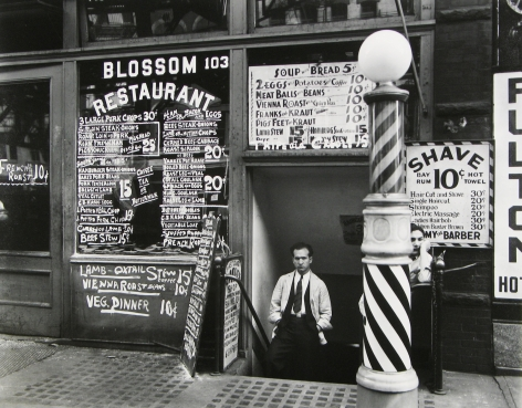 Berenice Abbott - Blossom Restaurant, 103 Bowery between Grand and Hester Streets - Howard Greenberg Gallery