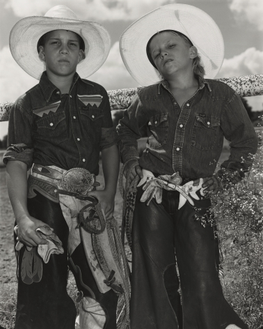 Mary Ellen Mark - Craig Scamardo + Cheyloh Mather, Young Bull Riders - Boerne Rodeo, Texas - Howard Greenberg Gallery