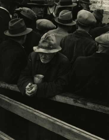 Dorothea Lange  White Angel Breadline, San Francisco, 1933 Gelatin silver printed; printed 1950s 13 x 10 1/8 inches, howard greenberg gallery, 2020